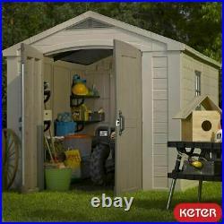 Keter Factor 8ft x 11ft (2.5 x 3.3m) Maintenance-Free Garden Tool Storage Shed