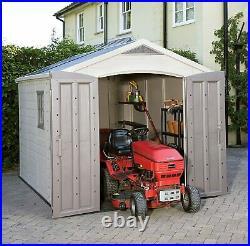 Keter Factor Outdoor Plastic Garden Storage Shed, Beige, 8 x 11 ft
