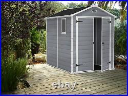 Keter Manor Garden Shed Plastic 6 x 8ft Lockable Dble Doors 15 Year Guarantee