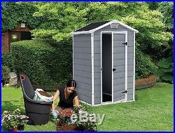 Keter Manor Outdoor Plastic Garden Storage Shed 4 x 3 feet Grey