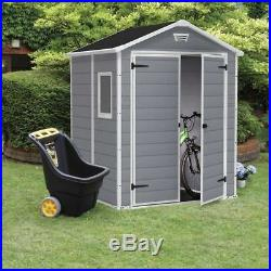 Keter Manor Shed Plastic Garden Shed 6 x 5ft Lockable Double Doors 15 Year Guara