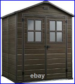 Keter Scala Outdoor Plastic Garden Storage Shed Brown 6 X 5 Ft NEW