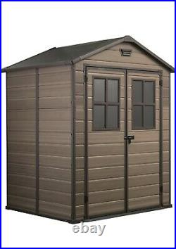 Keter Scala Outdoor Plastic Garden Storage Shed, Brown, 6 x 5 ft