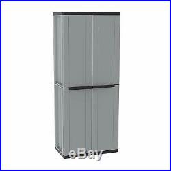 Plastic Garden Storage Cupboard 2 Door Wardrobe Broom 3 Shelves 68x37.5x163.5 cm