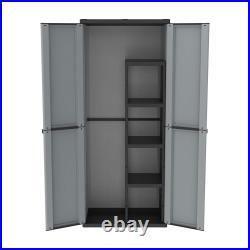 Plastic Garden Storage Cupboard 2 Door Wardrobe Broom 4 Shelves 68x37.5x163.5 cm