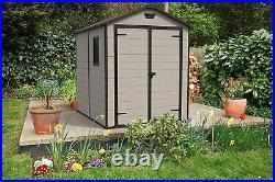 Shed, Keter Manor Outdoor Plastic Garden Storage Beige, 6 x 8 ft