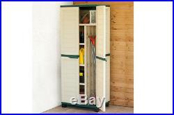 Starplast Plastic Garden Storage Utility Cabinet Broom Storage & 4 Shelves Gr