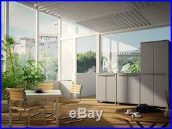 Tall Plastic Broom Cupboard Shelves Outdoor Garden Storage Garage Tool Shed Box