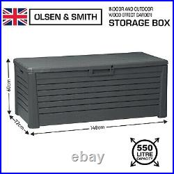 Toomax Large Outdoor Garden Storage Box 550L Sit On Bench Chest Water Resistant